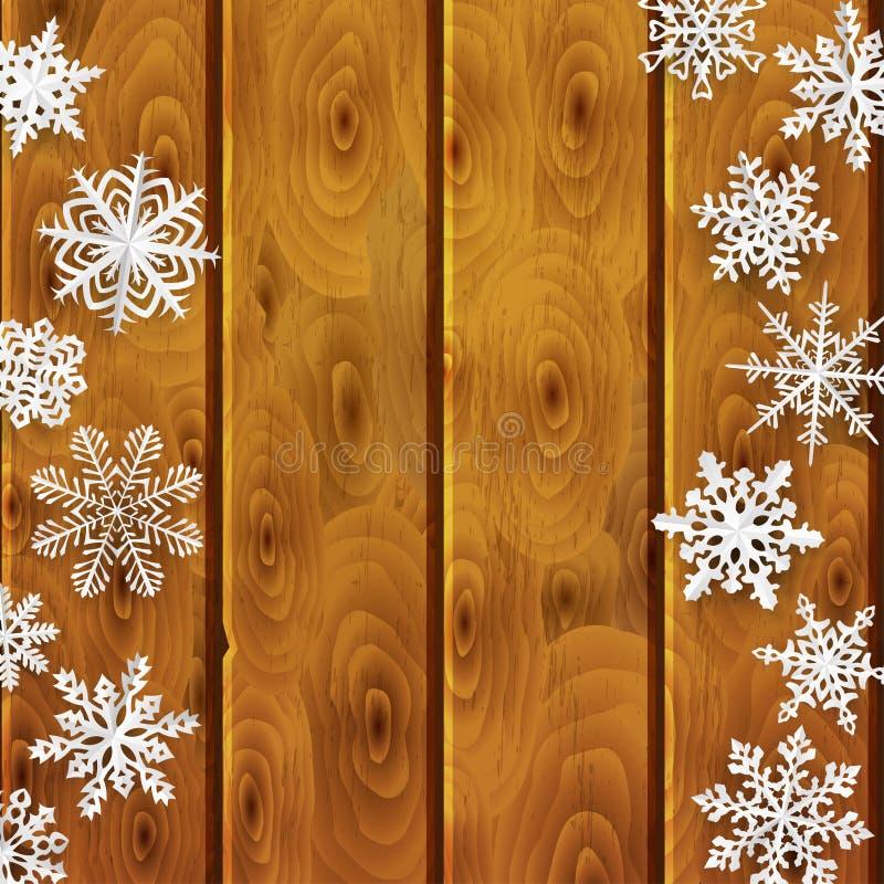 Fondo di Natale con i fiocchi di neve di carta sulle plance di legno illustrazione vettoriale