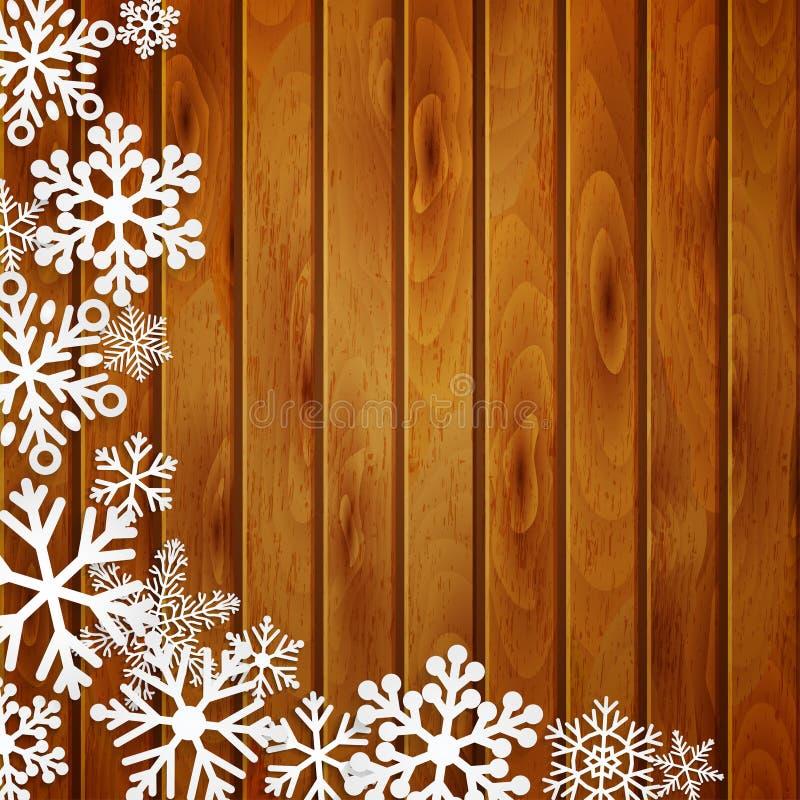 Fondo di Natale con i fiocchi di neve sulle plance di legno royalty illustrazione gratis