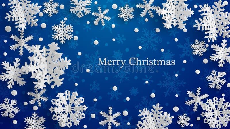 Fondo di Natale con i fiocchi di neve di carta tridimensionali illustrazione vettoriale