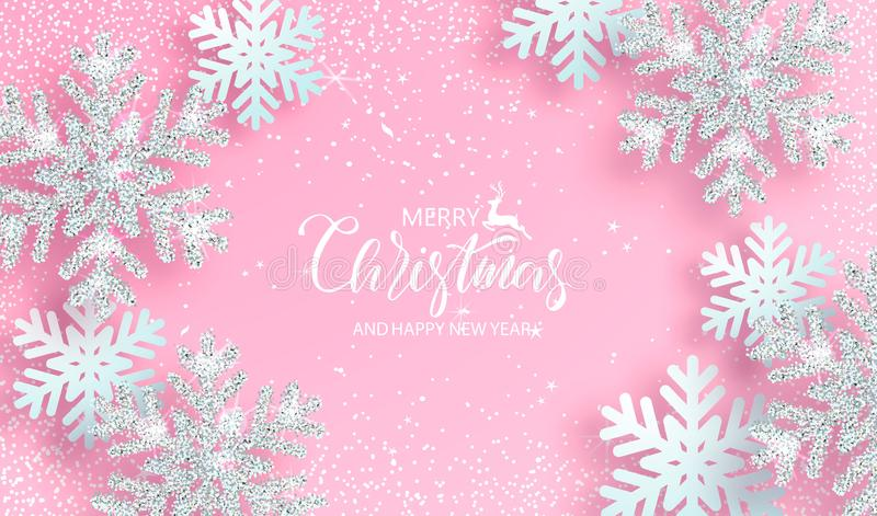 Fondo di Natale con i fiocchi di neve d'argento brillanti su fondo rosa Illustrazione di vettore illustrazione vettoriale