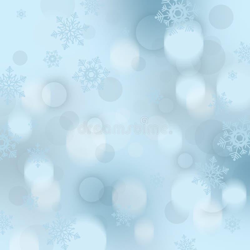 Fondo di Natale con i fiocchi di neve e le bagattelle royalty illustrazione gratis