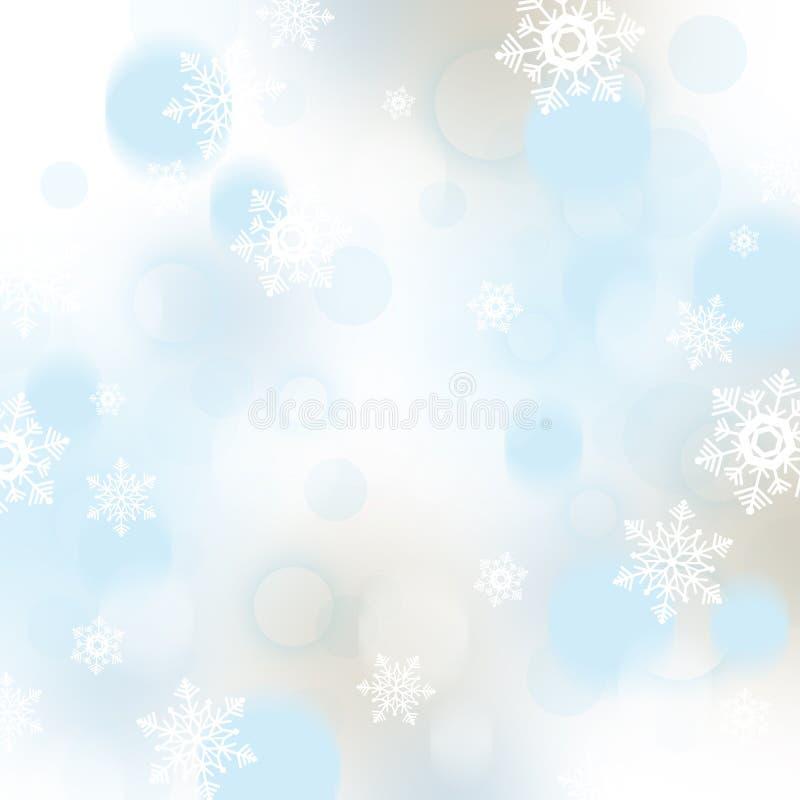 Fondo di Natale con i fiocchi di neve e le bagattelle illustrazione di stock