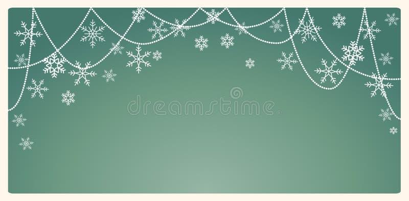 Fondo di Natale con i fiocchi di neve e posto per testo royalty illustrazione gratis