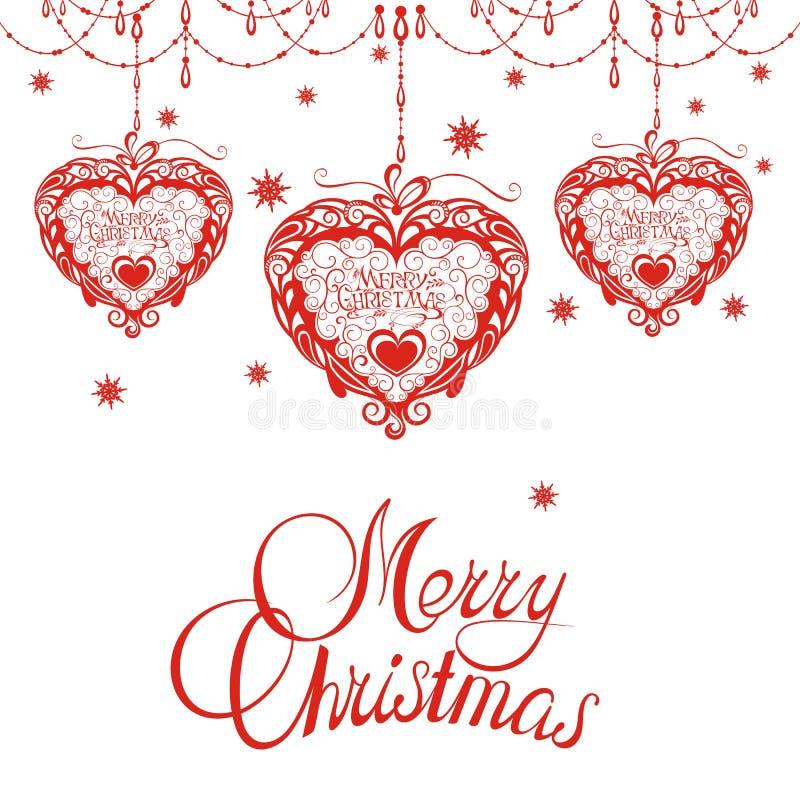 Fondo di Natale con i fiocchi di neve ed i cuori illustrazione vettoriale