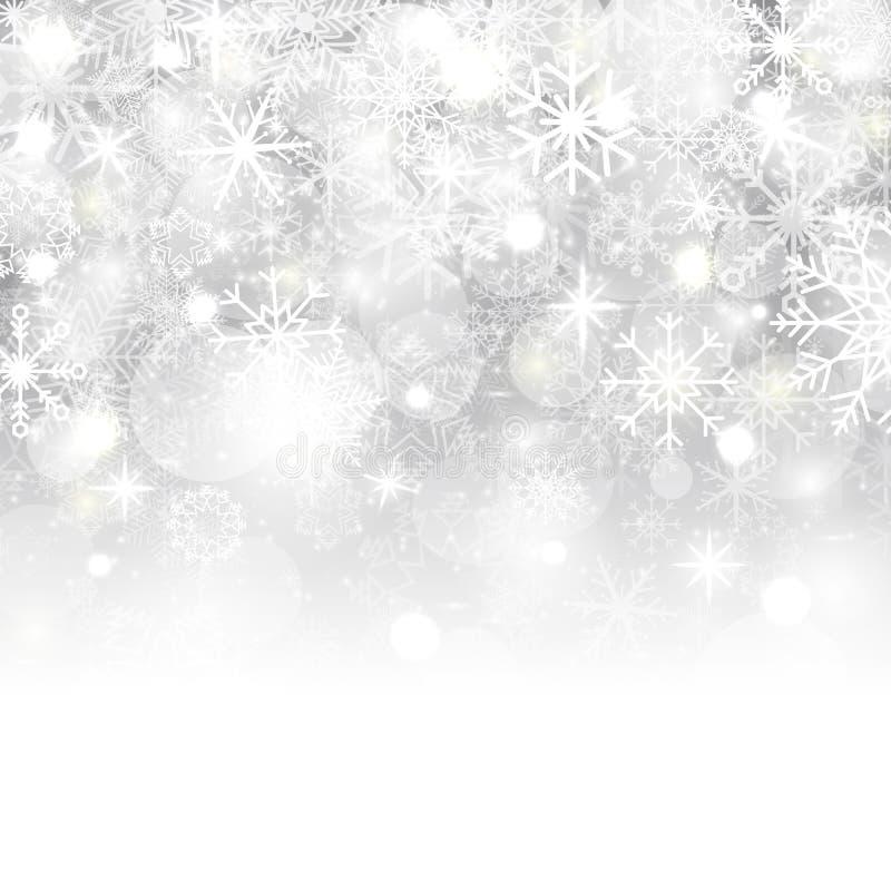 Fondo di Natale con i fiocchi di neve, le stelle, la neve ed il posto per testo Illustrazione di vettore illustrazione di stock