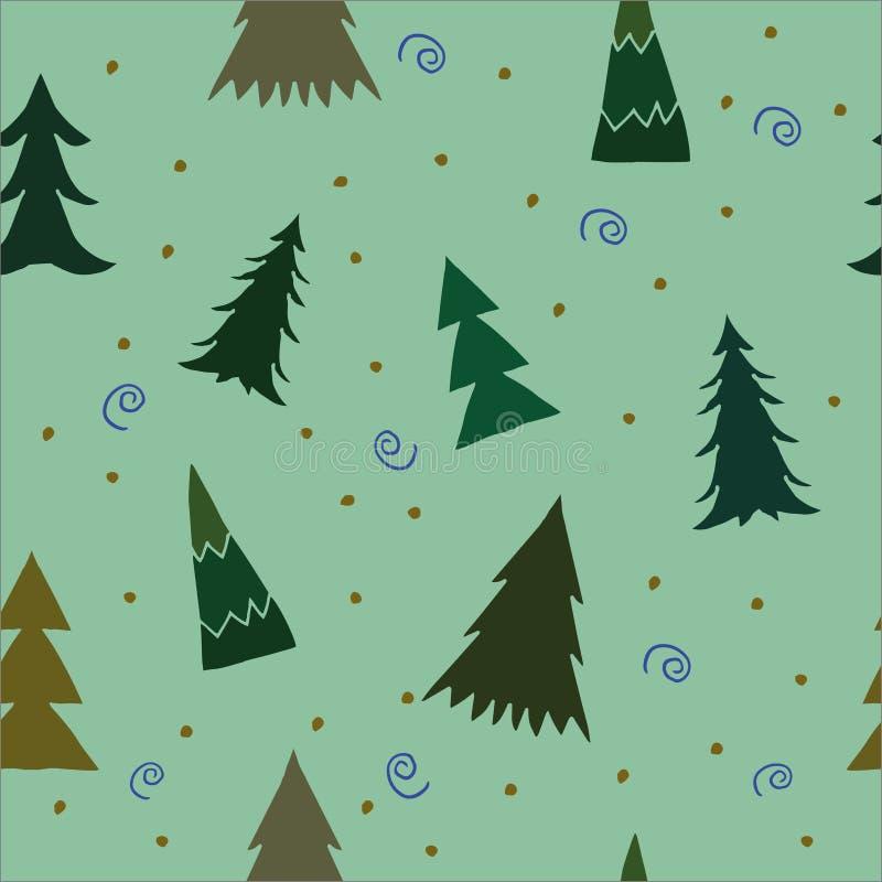 Fondo di Natale con i pini Modello senza cuciture di scarabocchio sveglio per l'invito del nuovo anno, cartolina d'auguri di Nata immagine stock libera da diritti