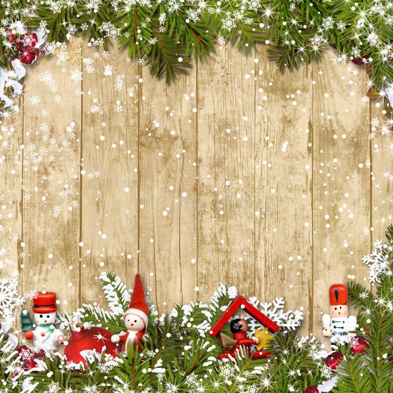 Fondo di Natale con il confine dei rami dell'abete illustrazione vettoriale