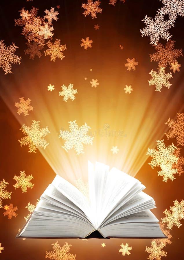 Fondo di Natale con il libro magico illustrazione vettoriale
