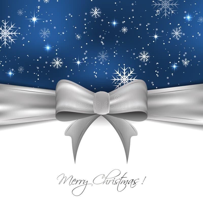 Fondo di Natale con il nastro d'argento, fiocchi di neve e scintillio, progettazione per la vostra cartolina d'auguri illustrazione di stock