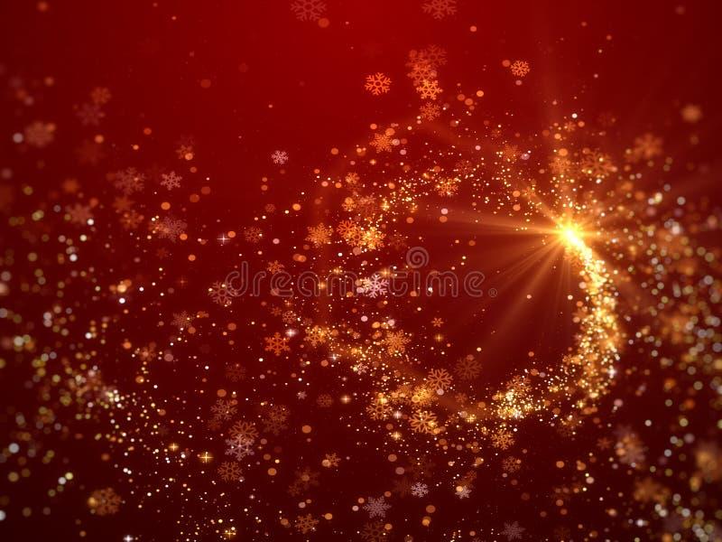 Fondo di Natale con il tema rosso scintillante dei fiocchi di neve illustrazione vettoriale