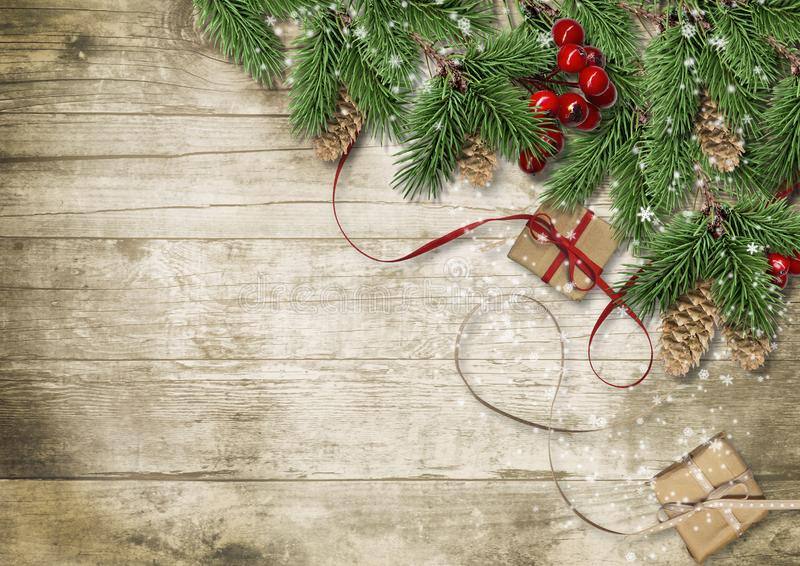 Fondo di Natale con l'albero, l'agrifoglio ed i coni Cartolina d'auguri illustrazione vettoriale