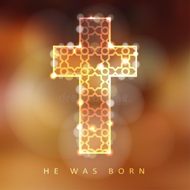 Fondo di Natale con l'incrocio ornamentale illuminato, concetto cristiano, illustrazione di stock