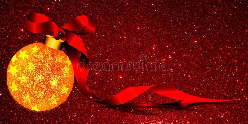 Fondo di Natale con l'ornamento giallo e nastro su un fondo rosso di scintillio illustrazione di stock