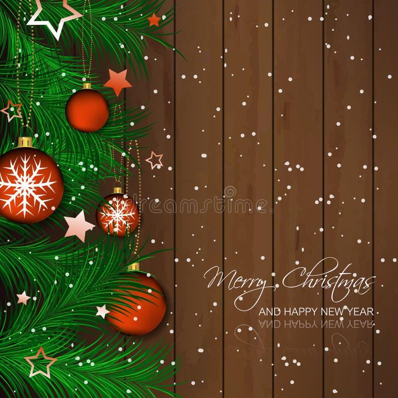 Fondo di Natale con la bagattella, gli aghi del pino e la struttura di legno per la cartolina d'auguri e la festa felice royalty illustrazione gratis
