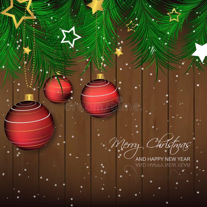 Fondo di Natale con la bagattella, gli aghi del pino e la struttura di legno per la cartolina d'auguri e la festa felice illustrazione vettoriale