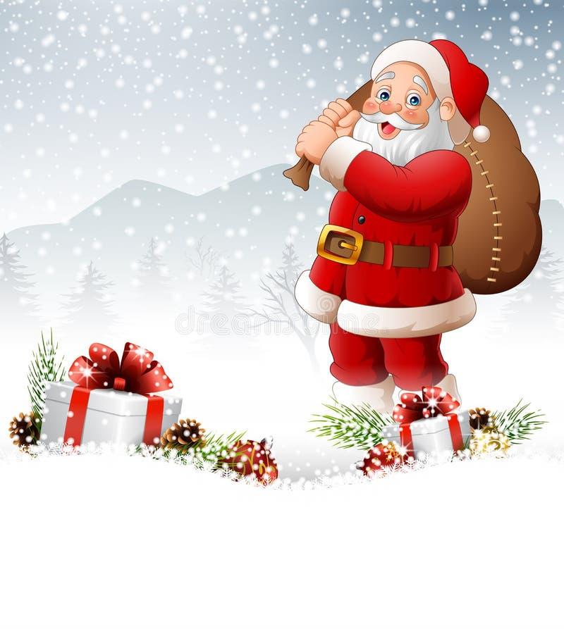 Fondo di Natale con la borsa di trasporto di Santa illustrazione di stock