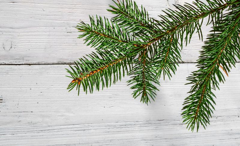 Fondo di Natale con la decorazione dell'abete del ramo su legno bianco fotografia stock libera da diritti