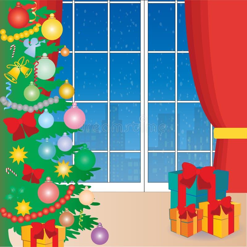 Fondo di Natale con la finestra, la tenda, l'albero di Natale ed i regali illustrazione vettoriale