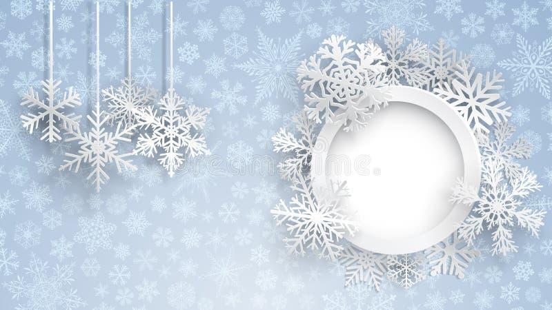Fondo di Natale con la struttura ed i fiocchi di neve rotondi illustrazione vettoriale