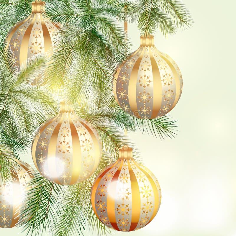 Fondo di Natale con le bagattelle d'argento e dorate royalty illustrazione gratis