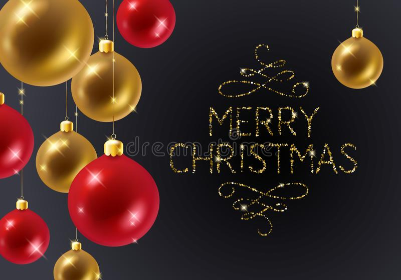 Fondo di Natale con le bagattelle e lo scintillio Decorazione dell'albero di Natale Progettazione della cartolina d'auguri royalty illustrazione gratis