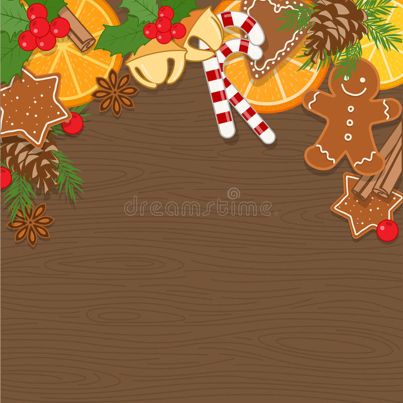 Fondo di Natale con le decorazioni, cuocere di Natale ed i dolci sul bordo di legno illustrazione vettoriale