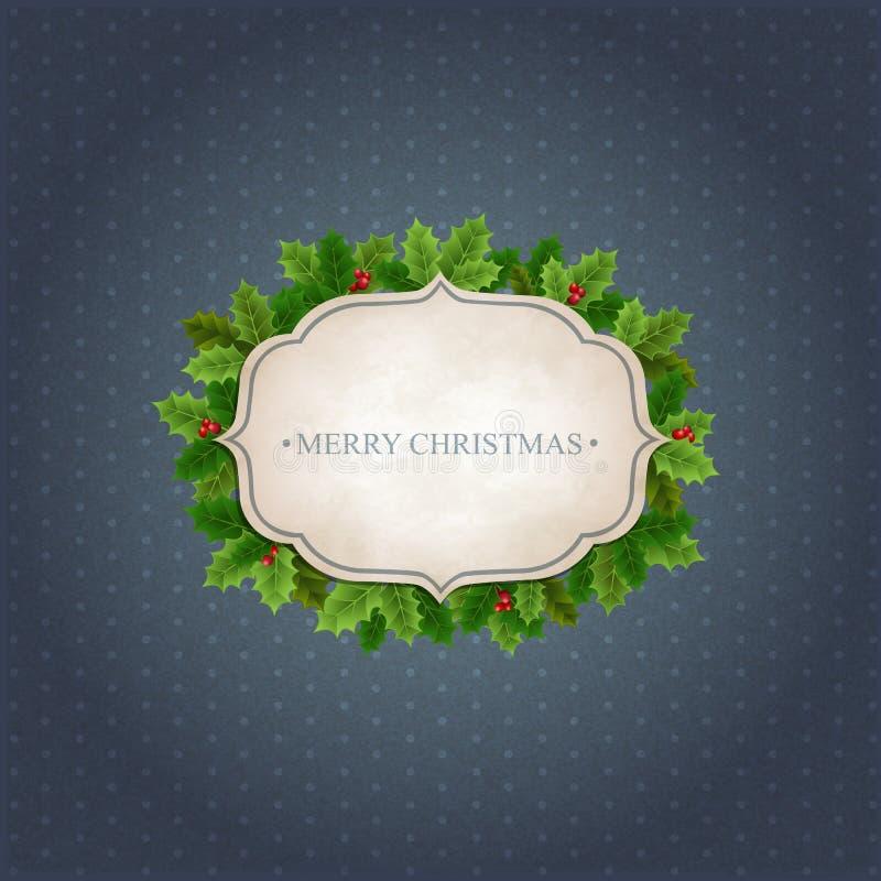 Fondo di Natale con le foglie dell'agrifoglio illustrazione vettoriale