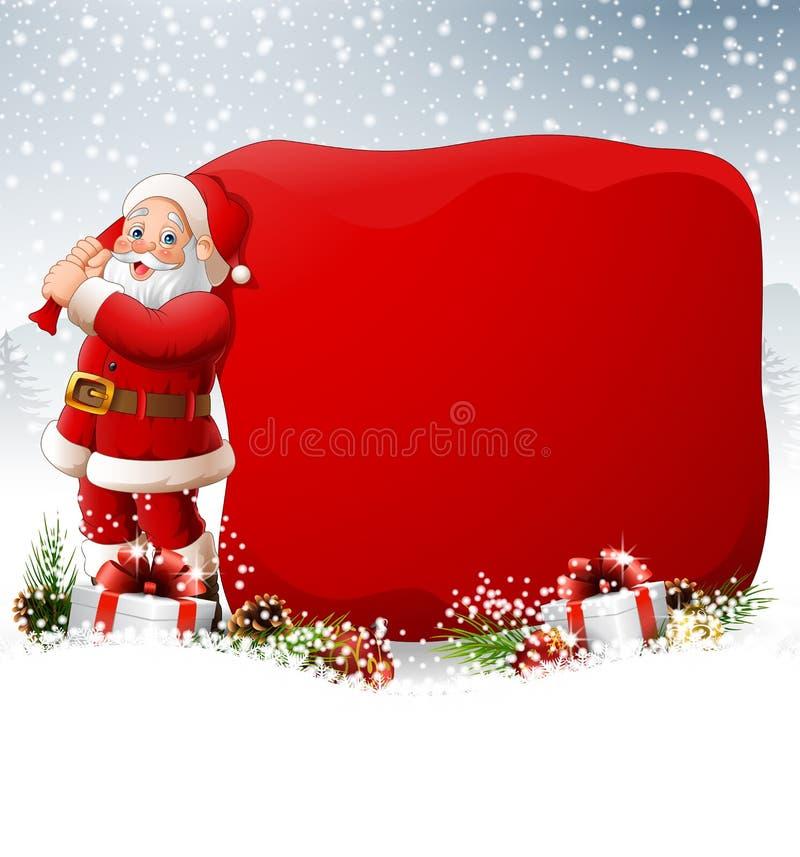 Fondo di Natale con Santa che tira una borsa enorme royalty illustrazione gratis