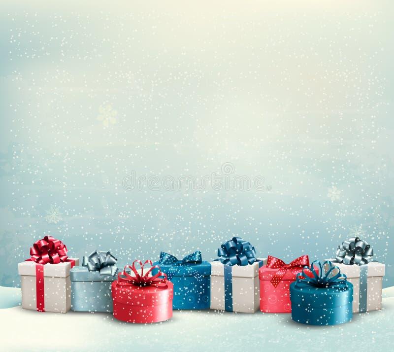Fondo di Natale di festa con un confine dei contenitori di regalo illustrazione di stock