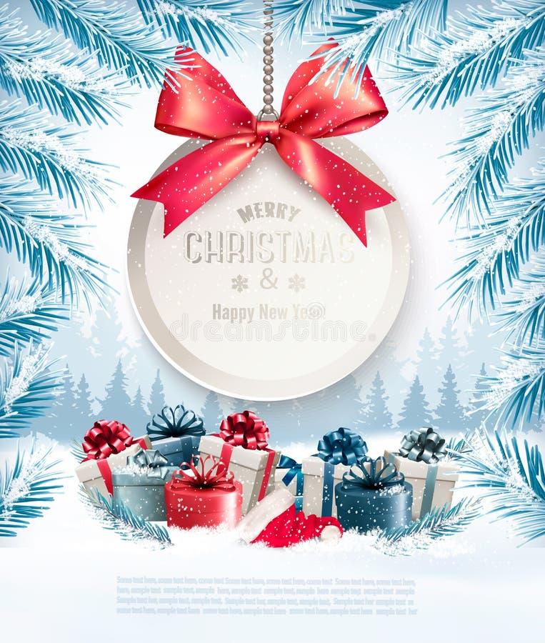 Fondo di Natale di festa con una carta di regalo illustrazione vettoriale