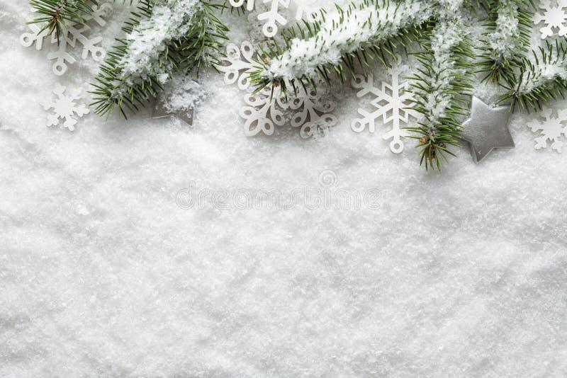 Fondo di Natale - fiocchi di neve ed albero attillato su neve fotografia stock libera da diritti