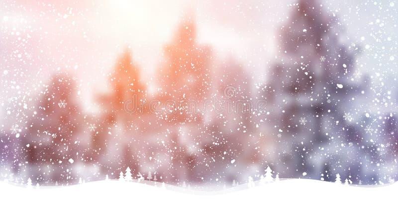 Fondo di Natale di inverno con paesaggio, foresta, fiocchi di neve, luce, stelle Scheda anno di nuovo e di natale royalty illustrazione gratis
