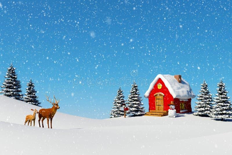 Fondo di Natale, piccola cabina rossa con il pupazzo di neve nel paesaggio di inverno con i cervi del maschio e fawn illustrazione vettoriale