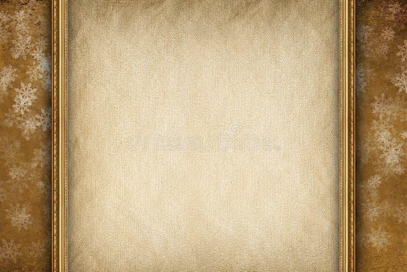 Fondo di natale - strato e fiocchi di neve della carta in bianco immagini stock