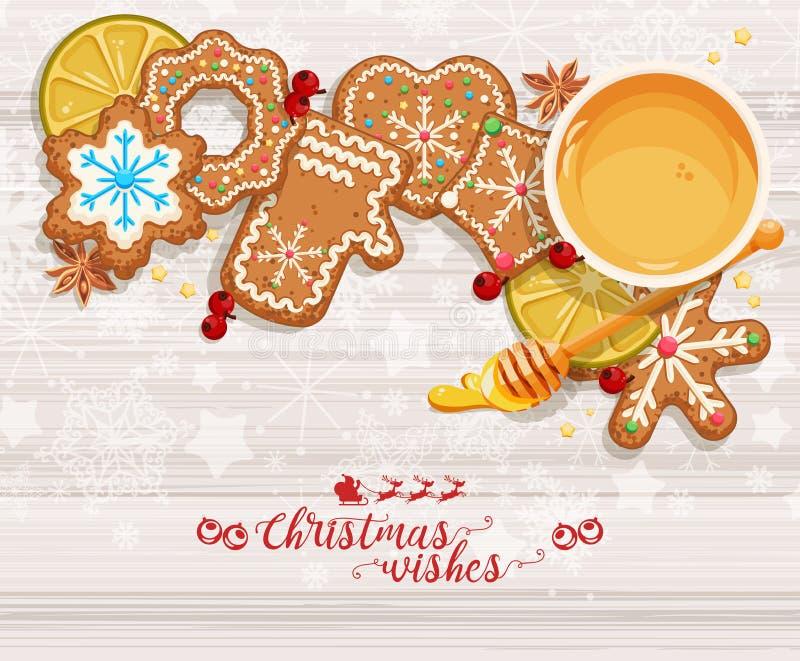 Fondo di Natale di vettore con la tazza di tè, dei pan di zenzero dolci, delle decorazioni, dei mandarini e dei fiocchi di neve illustrazione vettoriale