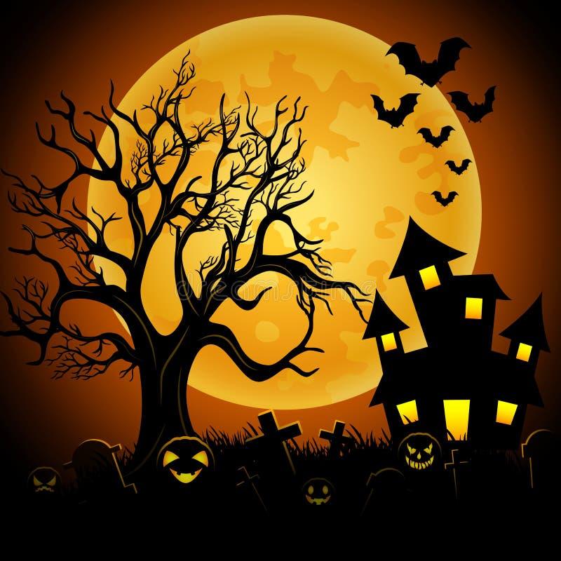 Fondo di notte di Halloween con il castello terrificante ed il cimitero illustrazione di stock