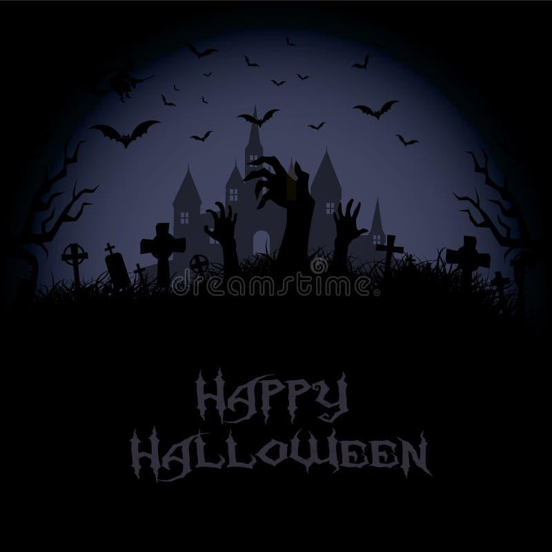 Fondo di notte di Halloween con la casa, l'albero, la zucca ed i pipistrelli frequentati Vettore royalty illustrazione gratis