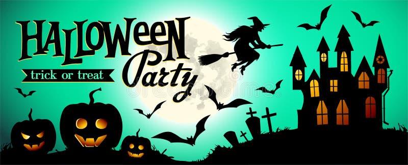 Fondo di notte di Halloween con la zucca, la casa e la luna piena Modello dell'invito o dell'insegna per il partito di Halloween illustrazione vettoriale