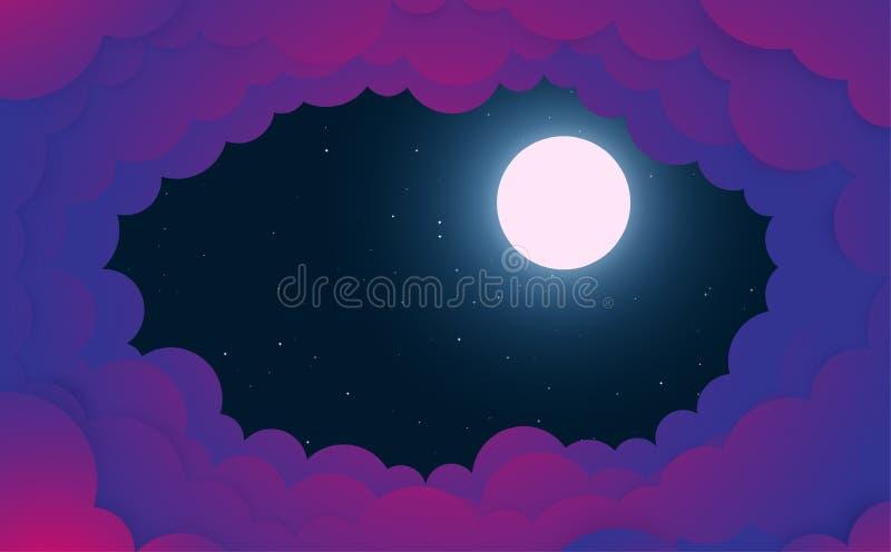Fondo di notte, luna, nuvole e stelle brillanti sul cielo blu scuro illustrazione di stock