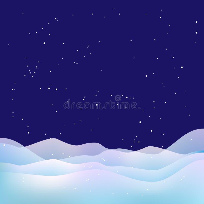 Fondo di notte di natale Neve, stelle e cumuli di neve illustrazione vettoriale