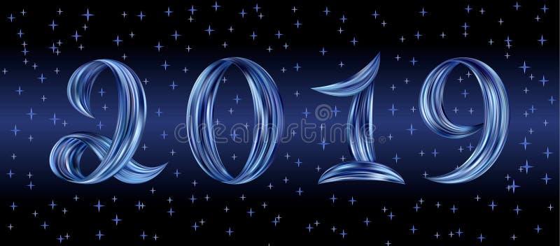 Fondo di notte di numeri di flusso di colore del nuovo anno 2019 illustrazione vettoriale