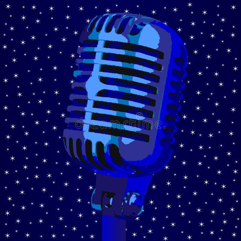 Fondo di notte di Stary del microfono royalty illustrazione gratis