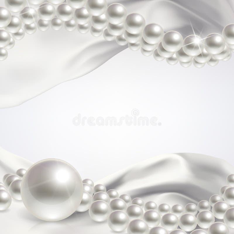 Fondo di nozze con le perle illustrazione vettoriale