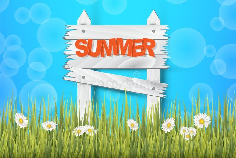 Fondo di ora legale per l'insegna o l'aletta di filatoio Contesto di alta qualità con un cielo vibrante, un'erba, i fiori e uno s illustrazione di stock