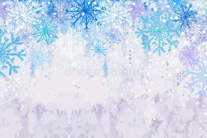 Fondo di orizzontale della bufera di neve di inverno illustrazione di stock
