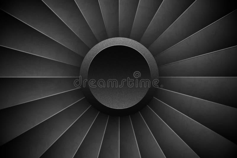 Fondo di orizzontale di Jet Engine Turbine Motore dettagliato Front View dell'aeroplano Fan di turbo degli aerei dell'illustrazio illustrazione vettoriale