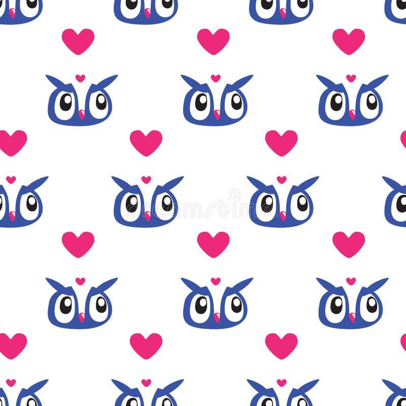 Fondo di Owl Heart Seamless illustrazione vettoriale