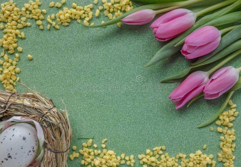 Fondo di Pasqua con i tulipani e l'uovo rosa sul fondo verde di scintillio con lo spazio della copia fotografia stock libera da diritti