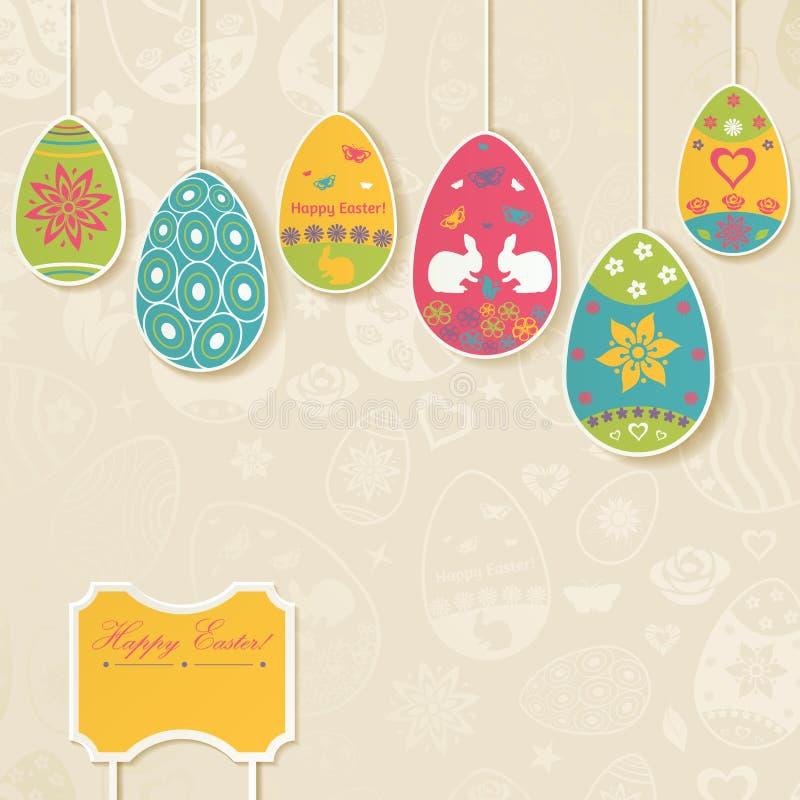 Fondo di Pasqua con le uova che appendono sulle corde illustrazione vettoriale
