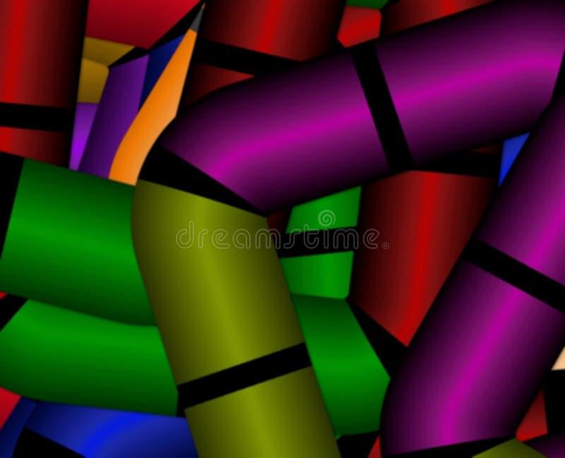 Fondo di pendenza vago viola verde astratta degli elementi delle forme geometriche dei quadrati con gli angoli tagliati illustrazione vettoriale